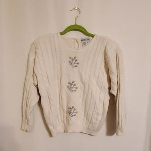 Vintage | Cable Knit Embroidered Floral Sweater